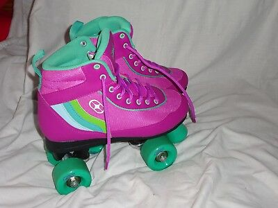 No Fear Quad Skates/Boot Size 5 Pink & Green's Ideal For School Holiday Worn Onc