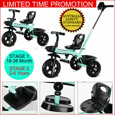2 in1 Baby Walker Kids Trike Tricycle Bike Children Bicycle 3 Wheels Mint Green