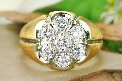 2.65 Ct Round Diamond 14K Yellow Gold Over Cluster Ring Heavy Mens Wedding Ring
