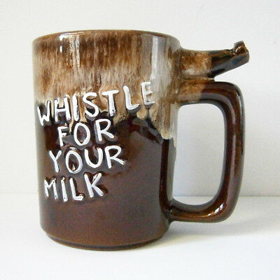 KITSCH VINTAGE JAPANESE CHINA 'WHISTLE FOR YOUR MILK' MUG with BUILT-IN WHISTLE