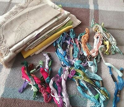 Job lot of Vintage Linen Embroidery clothes with Silks to Complete .