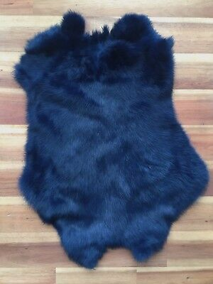 2x NAVY Rabbit Skin Real Fur Pelt for animal training, crafts, fly tying, LARP,