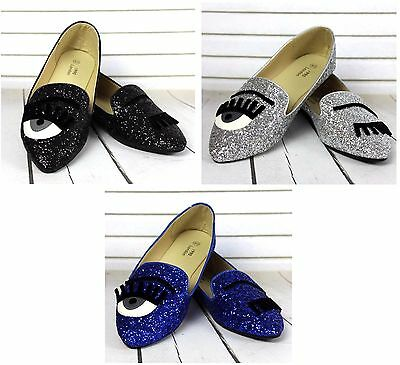 New Womens Flat Pumps Ladies Glitter Ballet Ballerina Dolly Bridal Shoes Size