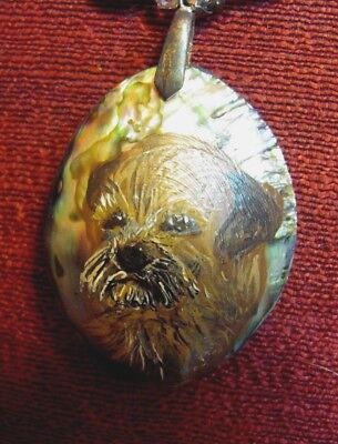 Border Terrier hand painted on marquise cut Abalone shell pendant/bead/necklace