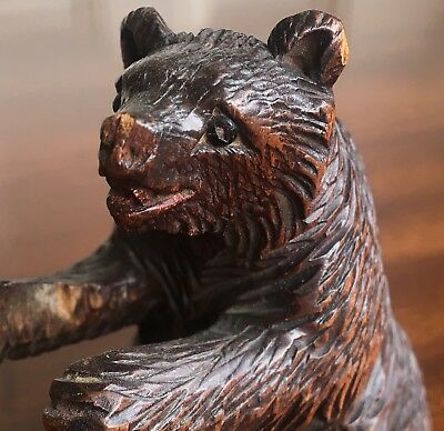 A Well Carved Black Forest Carved Wood Bear, With Bead Eyes, 9cm High.