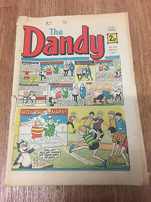 Dandy Comic No 1607 September 9th 1972, Vintage UK Korky the Cat, Desperate Dan