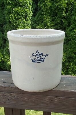Vtg Stoneware Crock Blue Crown 2 - 2 Gallon: PRIMITIVE FARM - GREAT LOOKING!