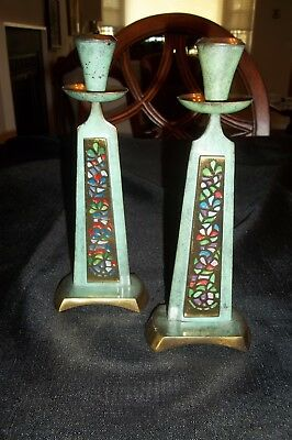 2 Pc Vtg Judaica Brass Enamel Green Candle Holders Israel: BEAUTIFUL