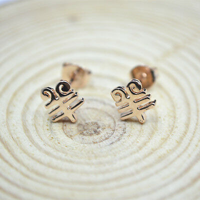 14K 14ct Rose Gold PL Shiny Cute Chinese Year of Goat Sheep Stud Earrings Gift