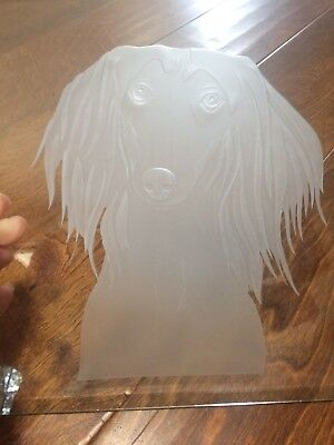 """10""""  etched glass cutting board/hot plate holder square long hair Dachshund dog"""