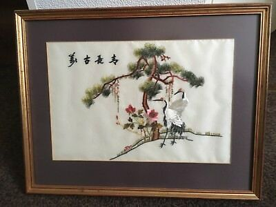 japanese silk embroided picture framed
