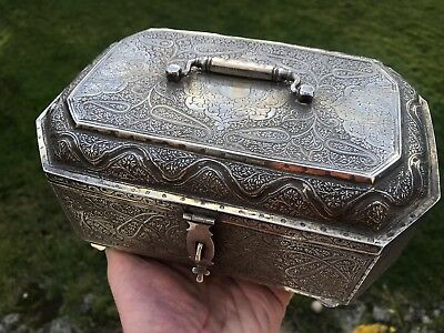 Rare Antique Solid Silver Anglo Indian Kashmiri Jewellery Box. 1900.