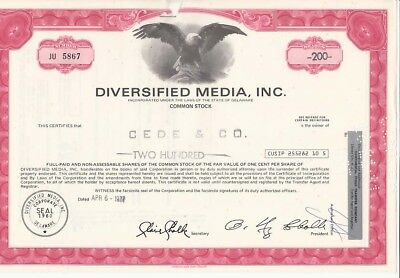 Diversified Media, Inc. 3 Wertpapiere 1977 a 200 Shares (A60)