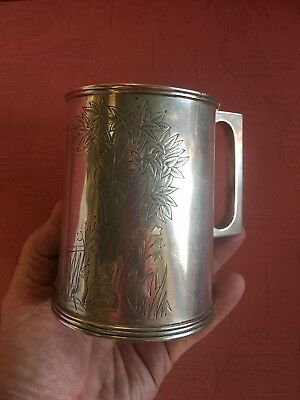 ANTIQUE INDIAN SILVER PINT TANKARD by C. KRISHNA CHETTY. BANGLORE .1890. 371 GMS
