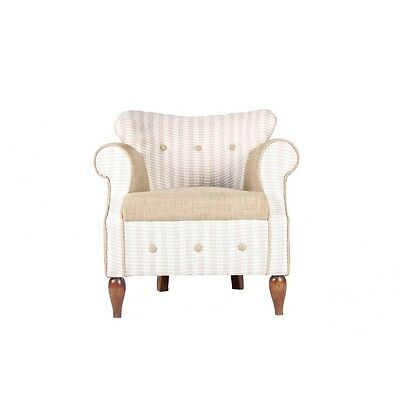 Beige Color Wooden Asian Art Linen Fabric Made Upholstered Beautiful Arm Chair