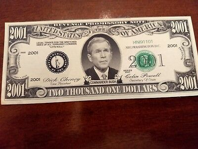 New George GW Bush Memory of 9-11 2001 Dollar Bill Collectible Money Novelty