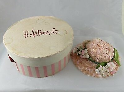 Vintage B. Altman & Co. Department Store Miniature Hat Box w Hat
