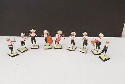 9 Vintage MEXICAN MARIACHI BAND FIGURES Miniature Folk Art Figurines Mexico
