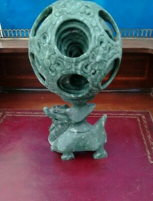 Large Chinese Hardstone Puzzle Ball on Original Dragon Stand