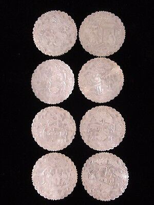 EIGHT 19th C. CHINESE MOTHER OF PEARL GAMING COUNTERS