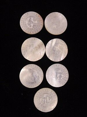 SEVEN 19th C. CHINESE MOTHER OF PEARL GAMING COUNTERS