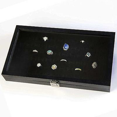 Jewelry Storage Organizer Box Case Containers Display Glass Top Ring Tray New