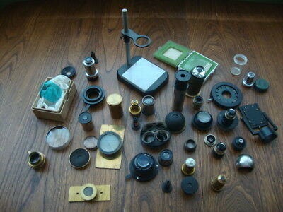 Big Collection Of Vintage Mixed Microscope Parts Lenses Condensers & Accessories