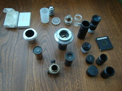 No 3 Collection Of Vintage Mixed Microscope Parts Lenses Accessories