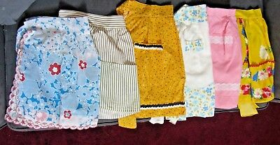 Lot of 6 Vintage Ladies's Half Aprons with pockets w/ FREE magnet, doily & apron