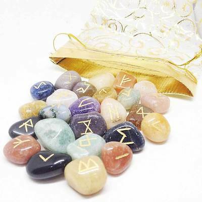 mix stone Gemstone Rune Set with  Pouch wicca pagan runes stone