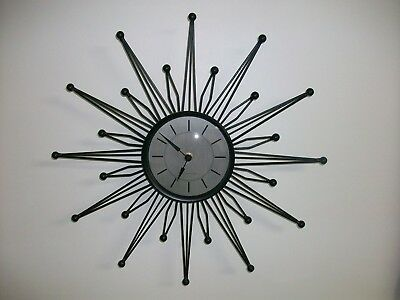 Mid Century Starburst Clock Battery Sterling And Noble Working