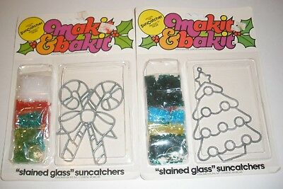 2 Makit & Bakit Christmas Stained Glass Suncatchers Ornament Candy cane & Tree