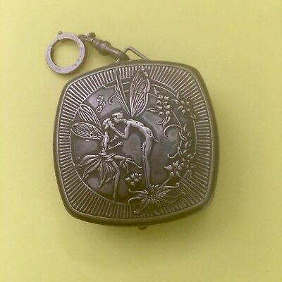 VINTAGE DJER KISS COMPACT Mirror Powder Chatelaine Kissing Fairies 1920s Lovely