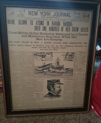 NEW YORK JOURNAL FRONT PAGE-FRAMED- SPANISH AMERICAN WAR BEGINS! February 1898