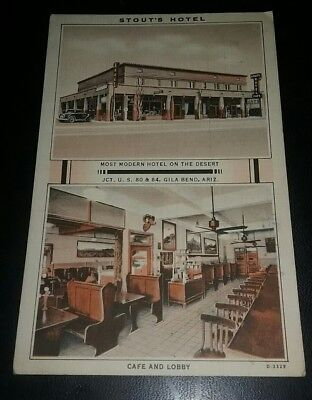 1936 Stout's Hotel Gila Bend Arizona Linen Postcard Most Modern on the Desert