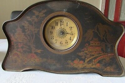 Vintage Chinoiserie Tin Mantel clock for spares or repair