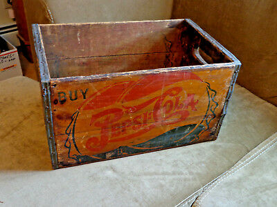 Vtg 40's Double Dot Pepsi Cola Wood Shipping Box W/bottle Caps And 5 Cents
