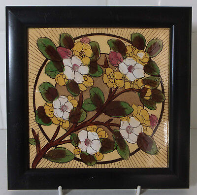 """Aesthetic T. A. Simpson framed hand painted 6"""" tile - Prunis"""