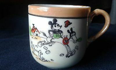 vintage antique 1930's Disney mickey mouse luster ware cup and plate