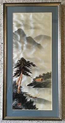 Vintage Silk Embroidery Panel Japanese Mountain scene, signed - nicely framed