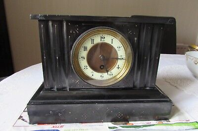 Black slate mantel clock for spares or repair