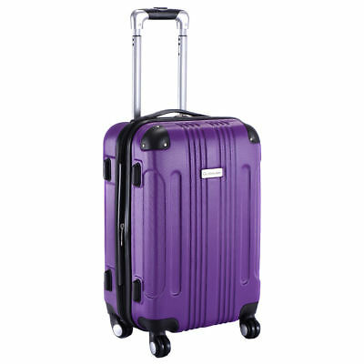 "GLOBALWAY Expandable 20"" ABS Carry On Luggage Travel Bag Trolley Suitcase Purple"
