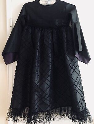 Pottery Barn Kids Witch Halloween Costume Black Dress With Hat Size 4-6 Used