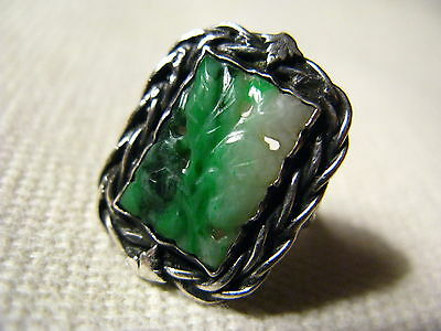 Vintage Antique Chinese Carved Jade Ring Sterling Silver Size 4.25