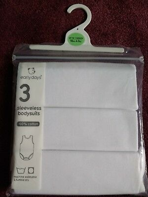 Sleeveless Baby Bodysuits 100% Cotton Pack Of 3. Up To 1 Month. New