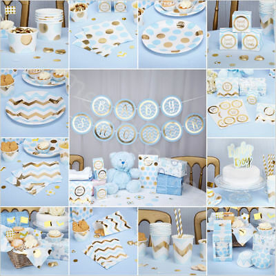 Pattern Works Blue Baby Shower Boy Gender Reveal Party Tableware & Decorations