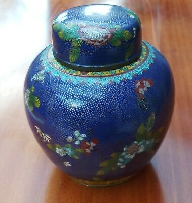 STUNNING Late 19th Century Chinese Cloisonne Ginger Jar & Cover  23 cms high