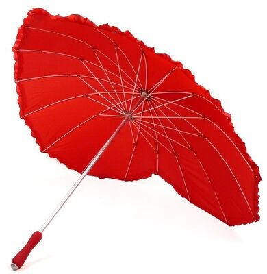 Red Creative Anti-UV Bridal Heart-shaped Lacework Umbrella Romantic Wedding Gift