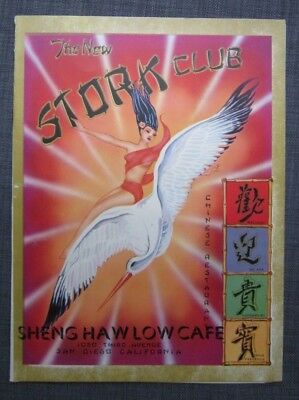 1950s The New Stork Club Chinese Restaurant Sheng Haw Low Cafe Menu San Diego CA