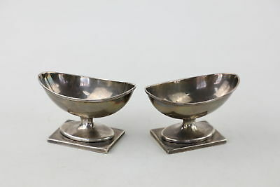 Pair Antique GEORGIAN 1790s London Hallmarked Sterling Silver TABLE SALTS 153g
